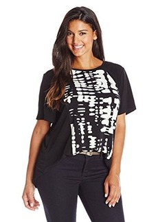 Calvin Klein Women's Plus-Size Short-Sleeve High-Low Print Top