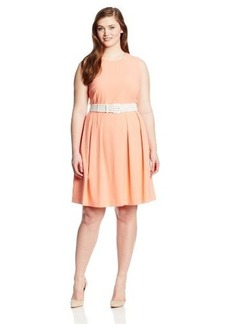 Calvin Klein Women's Plus-Size Sleeveless Belted Fit and Flare Dress
