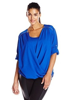 Calvin Klein Women's Plus-Size V-Neck Draped Roll-Sleeve Top Blouse