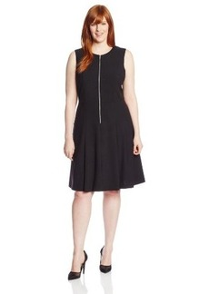 Calvin Klein Women's Plus-Size Zipper Front Fit and Flare Dress