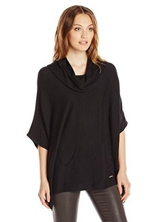 Calvin Klein Women's Poncho with Pocket, Black, Large/X-Large