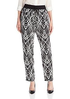 Calvin Klein Women's Print Tapered Pant, Black Cross Hatch, Large