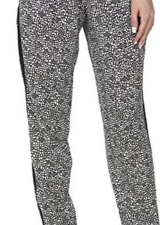 Calvin Klein Women's Print Tapered Pant, Black/Soft White Combo, Medium