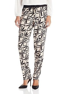 Calvin Klein Women's Print Tapered Pant, Latte/Multi, Medium