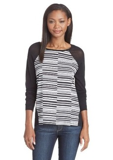 Calvin Klein Women's Print Woven-Panel Sweater