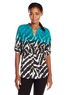 Calvin Klein Women's Printed Crew-Neck Roll-Sleeve Blouse