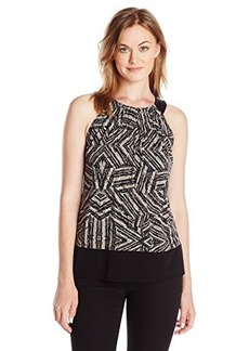 Calvin Klein Women's Printed Faux Leather Halter Top, Black Texture CKSP, Small