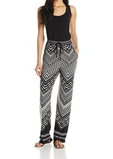 Calvin Klein Women's Printed Jumpsuit, Black/Black/Cream, 12