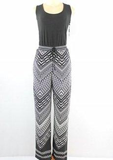 Calvin Klein Women's Printed Jumpsuit, Black/Black/Cream, 12