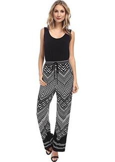 Calvin Klein Women's Printed Jumpsuit, Black/Black/Cream, 14
