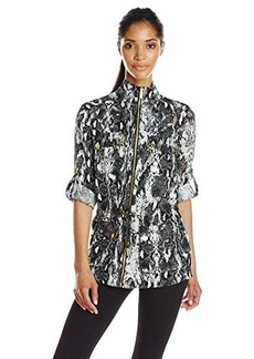 Calvin Klein Women's Printed Linen Jacket, Black Combo, Large