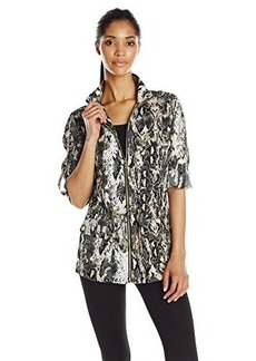 Calvin Klein Women's Printed Linen Jacket, Black/Latte Combo, Large