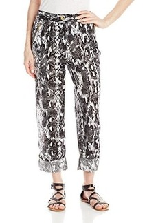 Calvin Klein Women's Printed Linen Tab Cuff Pant, Black Combo, X-Large