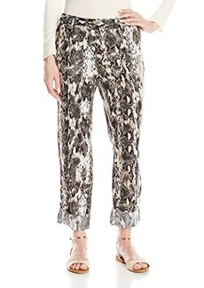 Calvin Klein Women's Printed Linen Tab Cuff Pant, Black/Latte Combo, Small