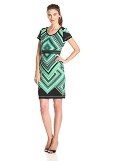 Calvin Klein Women's Printed Tee Shirt Dress, Black Cyan Multi, 4