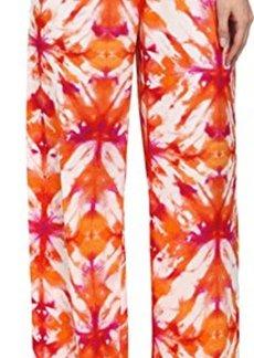Calvin Klein Women's Printed Wide Leg Pant, Tart/Multi, Small