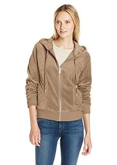 Calvin Klein Women's Quilted Hoodie, Morel Heather, Large