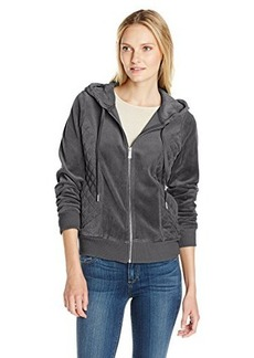 Calvin Klein Women's Quilted Hoodie, Heather Charcoal, X-Large