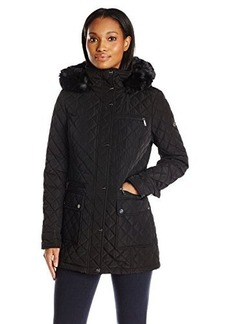 Calvin Klein Women's Quilted Jacket with Hood, Black, X-Small