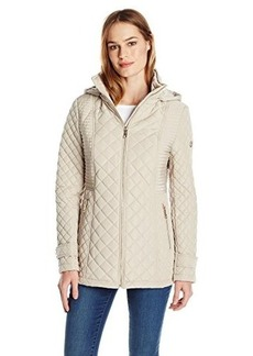 Calvin Klein Women's Quilted Jacket with Hood, Buff, X-Small