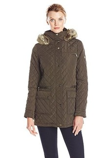 Calvin Klein Women's Quilted Jacket with Hood, Loden, Large