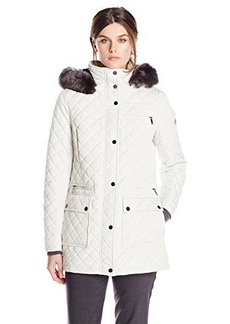 Calvin Klein Women's Quilted Jacket with Hood, Pearl, Medium