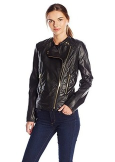 Calvin Klein Women's Quilted Moto Jacket, Black, X-Small
