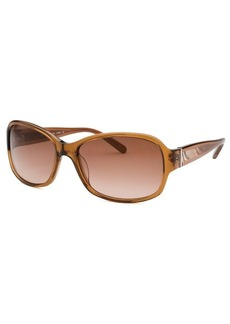 Calvin Klein Women's Rectangle Honey Crystal Sunglasses