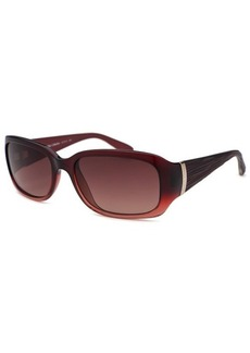 Calvin Klein Women's Rectangle Translucent Red Sunglasses