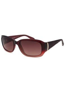 Calvin Klein Women's Rectangle Translucent Red Sunglasses