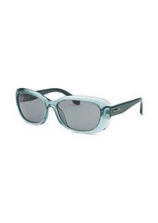 Calvin Klein Women's Rectangle Translucent Teal Sunglasses