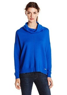Calvin Klein Women's Ribbed Cowl Neck Sweater, Celestial, Medium