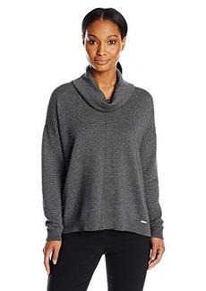 Calvin Klein Women's Ribbed Cowl Neck Sweater, Heather Charcoal, Medium