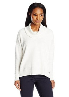 Calvin Klein Women's Ribbed Cowl Neck Sweater, Soft White, X-Small