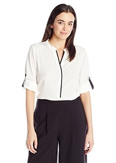 Calvin Klein Women's Roll Sleeve with Black Tipping, Soft White, Small