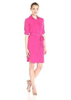 Calvin Klein Women's Roll Up Shirt Dress, Hibiscus, 10