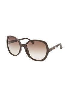 Calvin Klein Women's Round Dark Brown Sunglasses