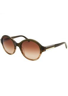 Calvin Klein Women's Round Olive Green & Brown Translucent Sunglasses