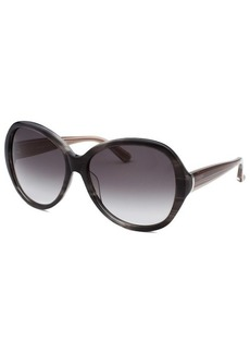 Calvin Klein Women's Round Striped Black Sunglasses
