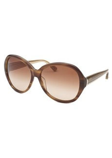 Calvin Klein Women's Round Striped Brown Sunglasses