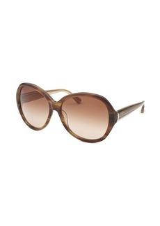 Calvin Klein Women's Round Striped Brown Sunglasses