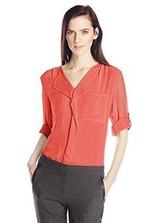 Calvin Klein Women's Ruffle Top, Watermelon, X-Small