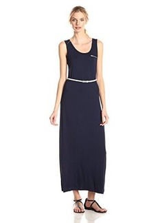 Calvin Klein Women's Sleeveless Solid Belted Maxi Dress, Indigo Cream, 8,Indigo Cream,8