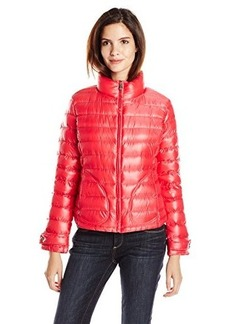 Calvin Klein Women's Short Packable Jacket, Berry, Large