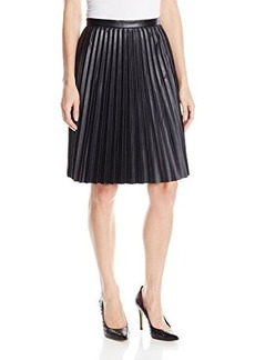 Calvin Klein Women's Faux-Leather Pleated Skirt