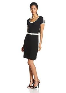 Calvin Klein Women's Belted Color-Block Dress