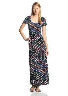 Calvin Klein Women's Short Sleeve Diagonal Stripe Maxi Dress