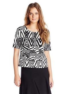 Calvin Klein Women's Short Sleeve Printed Ponte Top, Black Peak, Large