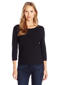 Calvin Klein Women's Short Sleeve Ribbed Sweater, Black, X-Large
