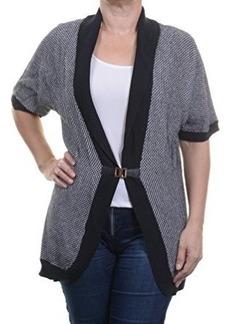 Calvin Klein Women's Short Sleeve Sweater Cardigan with Buckle, Black/White, Medium